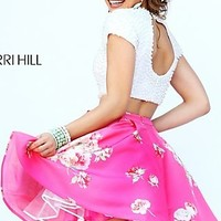 Short Two Piece Print Sherri Hill Dress with Short Sleeves