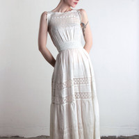 Antique White Cotton Dress . Early 1900s Eyelet Lace Gown XS