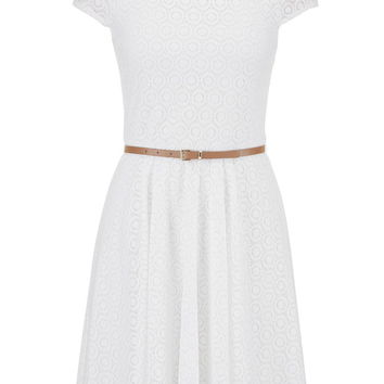 Short Sleeve Bow Back Lace Dress - White