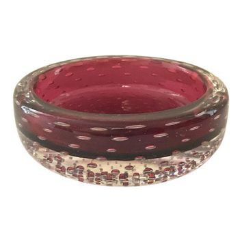 Vintage Ruby Red Bubble Art Glass Tray