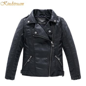 New Boys Faux Leather Jackets Style Children Fashion Coats Girls Outerwear Spring & Autumn