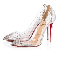 Christian Louboutin Cl Degrastrass Pvc Version Silver Strass 18s Bridal 1180606cn1h