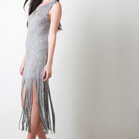 Fringe Marled Knit Sleeveless Dress