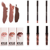 2016 Presell Kylie Lips Kit by kylie jenner Lipstick Set with Eyekiner lip gloss liquid lipstick matte 8 colors lipliner Makeup