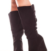 BLACK FAUX SUEDE HIGH HEEL KNEE HIGH WEDGE BOOT