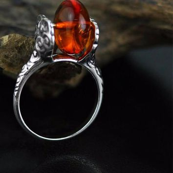 Vintage Inspired Silver Cloud Carved Amber Rotatable Ring