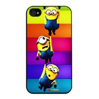 Despicable Me Minion Colorful Background Fashion Design Hard Case Skin for Iphone 4 4s Iphone4 At&t Sprint Verizon Retail Packing.(black Pc+pearlescent Aluminum) Oksobuy-0219