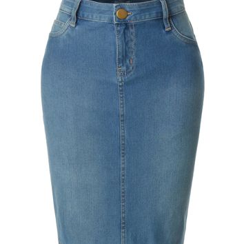 LE3NO Womens Stretchy Casual Basic Denim Midi Pencil Skirt