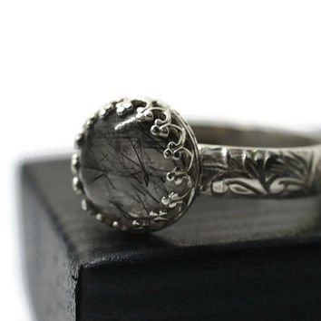 Tourmalinated Quartz Ring, Renaissance Ring, Engravable Jewelry, Black Rutile Quartz, Sterling Silver Jewelry, Secret Message Jewelry