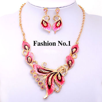 Vintage Retro Women Flower Jewelry Sets 6 Colors  Gold Plated Enamel Austrian Crystal Pendant Necklace Earring Free Shipping
