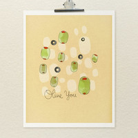 Olive You  // Food Illustration Print, Kitchen Art, Indie Kitchen Decor, Drawing, Art Poster, Giclee, Digital Print, Typographic Print