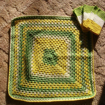 Baby Blanket, New Mom Gift, Washcloths, Baby Shower, Mother, Car Seat Stroller Receiving Swaddling Security Lime Green Lemon Yellow White