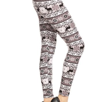Women's Plus B&W Reindeer Fair Isle Pattern Printed Leggings