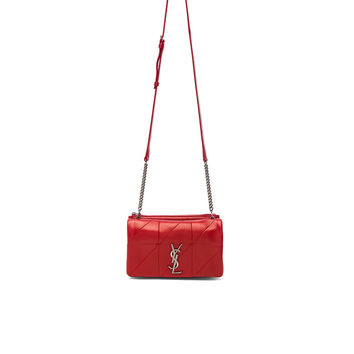 Saint Laurent Patchwork Leather Monogramme Jamie Chain Wallet in Eros Red | FWRD