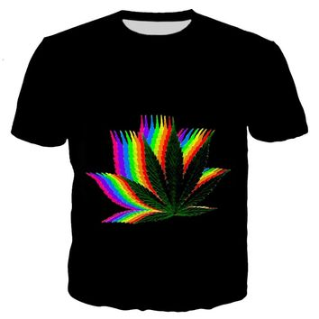 Cosmos Trippy Rainbow Weed Colorful Shirt