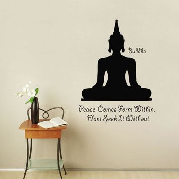 Peace Comes Form Within Wall Stickers Quotes Buddha Meditate Wall Decals Vinyl Yoga Stickers Home Decor