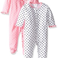 Gerber Baby Girls' 2 Pack Zip Front Sleep 'n Play, Birdie, -3 Months