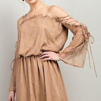 Tie Sleeve Lace Boho Dress