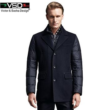 VSD Winter Jacket 2017 New Brand Clothing 90% White Duck Down Men's Jacket Thick Warm Hooded Coat Collar Parkas Hot Sale TC8862