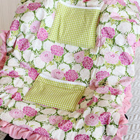 Carseat Cooler for Infants, Baby, and Toddler, Pink, Green, Flower, Ruffle, Floral
