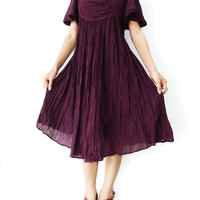 NO.9  Plum Cotton Bell Sleeves Tonic Dress