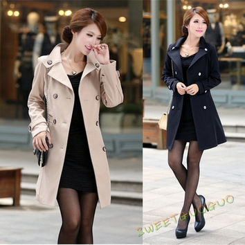 Spring Autumn Women Coat Medium-Long Trenchcoat Casual Dress = 1956873220