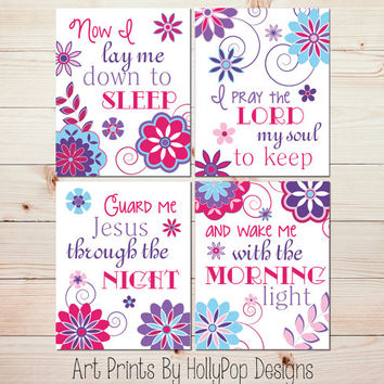 Girl Nursery Prints Childrens Bedtime Prayer Floral Nursery Art Toddler Girls Room Wall Decor Pink Purple Blue Baby Girl Nursery Art #0865