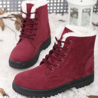 Winter Casual Shoes Women's Suede Thicken Warm Snow Ankle Boots [8243886343]