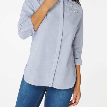 Blue and White Stripe Embellished Shirt | Dorothyperkins