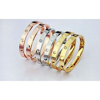Cartier Fashion Trending Women Men Love Bracelet Screw Yellow Gold G