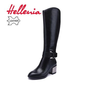 Hellenia Brand Women Winter Autumn Genuine Leather Women High Quality Knee High Boots Plush Warm Zip Fur lining Pointed Toe shoe