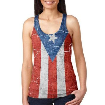 CREYON Distressed Puerto Rican Flag Juniors Burnout Racerback Tank Top