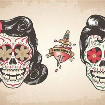 LOVE HURTS MEXICAN SKULL DESIGN vintage art poster ONE-OF-A-KIND 24X36 cool