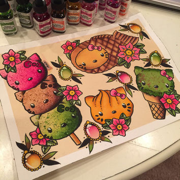 Kitty Inspired Tattoo Style Kawaii Flash Watercolor Painting Print
