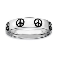 Sterling Silver Stackable Expressions Polished Enameled Peace Sign Ring