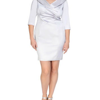 3/4-Sleeve Ruched Cocktail Dress, Size: