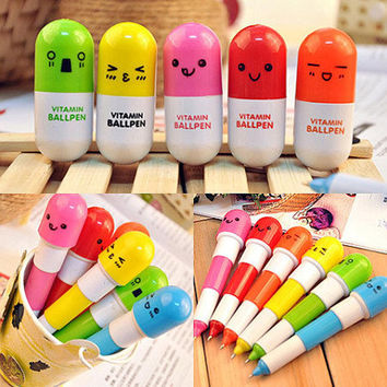 6 pcs lot lovely kawaii pill ballpoint pen cute mini telescopic vitamin capsules ballpen office school supplies girls gift