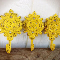 BOLD set of 3 ornate medallion wall hooks // sunny canary lemon yellow // towel coat hook // shabby cottage chic // rustic floral