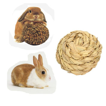 Pet Hamster Rabbit Grass Ball Toy Mice Gerbil Mini Animal Attractive Exercise Natural Funny Play Molar Teeth Toys 9.5cm / 3.7''