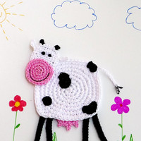 Crochet Cow Coaster (1 piece)