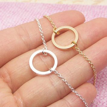Dainty Small Eternity Karma Necklace Friendship Gift Simple Round Circle Charm Choker Necklace Pendant Graduation Jewelry Women