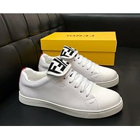 Fendi 2019 new style brand double F flip casual wild low cut sports shoes White