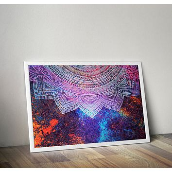 Reiki Charged Ink Distressed Mandala Blue and Pink Poster Bohemian Art Print Poster  Design no frame 20x30 Large