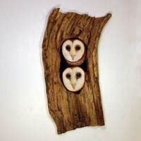 Wood Sculpture Barn Owls Bird Hand Carved, Carving Wall Hanging