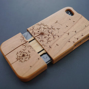 Floral Dandelion Cherry Wood iPhone 4 / 4s Case - Wooden iPhone 4 / 4s Case - Custom iPhone 4 / 4s Case Wood - Handmade iPhone 4 / 4s Case
