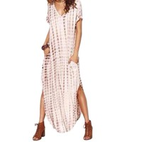 Women's Khaki Short Sleeve Tie Dye Maxi Dress with Pockets