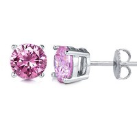 2 Carat Total Weight Sterling Silver Pink Cubic Zirconia Stud Earrings