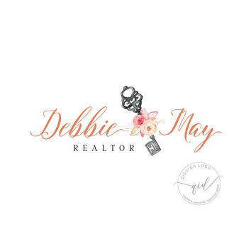 Premade realtor logo, real estate agent logo, logo for property business, watercolor floral key logo, vintage key logo, calligraphy logo