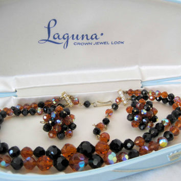 Vintage Laguna Crystal Topaz Black Necklace Set