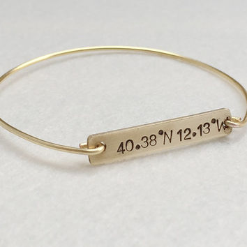 Coordinates bangle bracelet, Gold bangle, personalized jewelry for her, personalized bracelet, Kids children, flower girls jewelry, gift kid